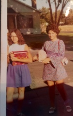 Linda Joy with best friend Lori bus stop first day jr high